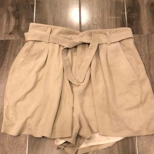 Joie High Waisted pleated leather shorts